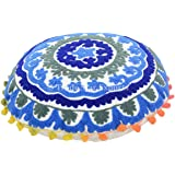 "Suzani Embroidered Pillow Cover 16"", Decorative Mandala Throw, Round Pillow Case, Boho Cushion Cover, Indian Pouf Ottoman, Pom Pom Outdoor Cushion, Roundie Pillow Sham"