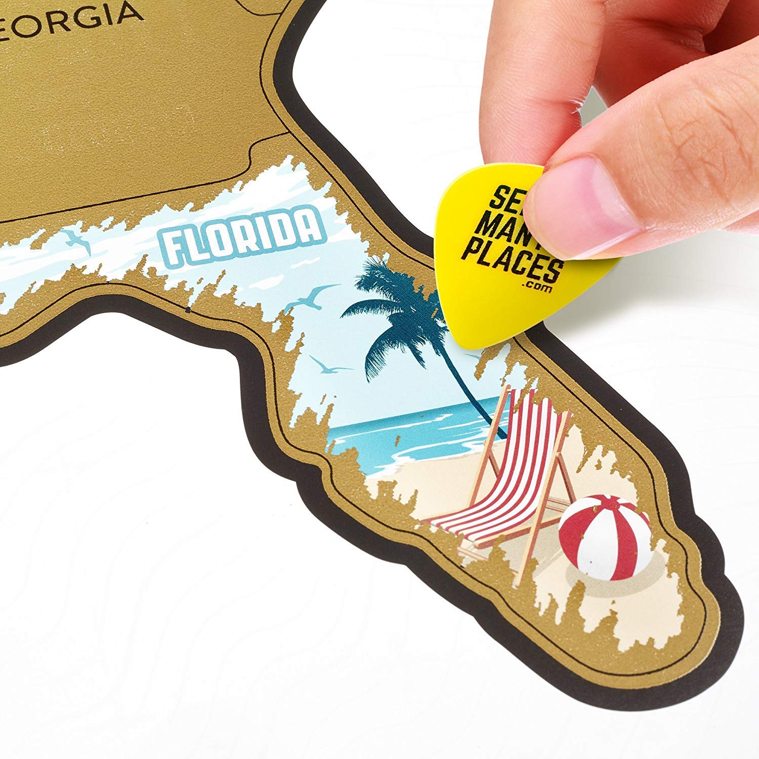 Amazon.com: SEE MANY PLACES .com Scratch Off US - USA Map - United ...