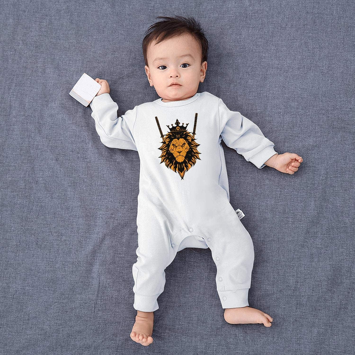 The King Lion with Knifes.PNG Stylish Newborn Crawling Suit Lone-Sleeved Romper Bodysuit
