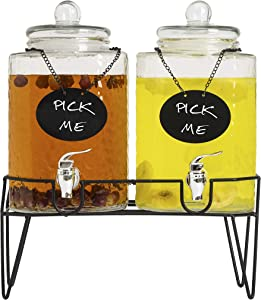 KUANCOMM 1.5 Gallon Beverage Dispenser with Spigot and Stand, Glass Drink Dispenser with Chalkboard for Parties & Weddings (2 Pack, Each 1.5 Gallon)