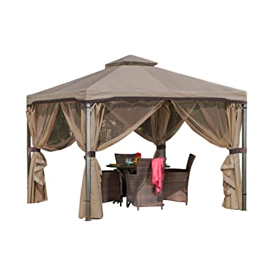 Christopher Knight Home Sonoma Canopy Gazebo, 10 x 10 feet Soft-Top Garden Tent with Mosquito Netting and Shade Curtains for Patio or Deck : Garden & Outdoor