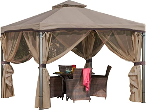 Great Deal Furniture Sonoma Outdoor Fabric Steel Gazebo Canopy in Light Brown