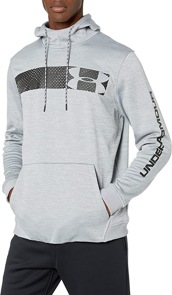 Under Armour Armour Fleece Pullover Hoodie bar Logo Graphic, Steel//Black, X-Large