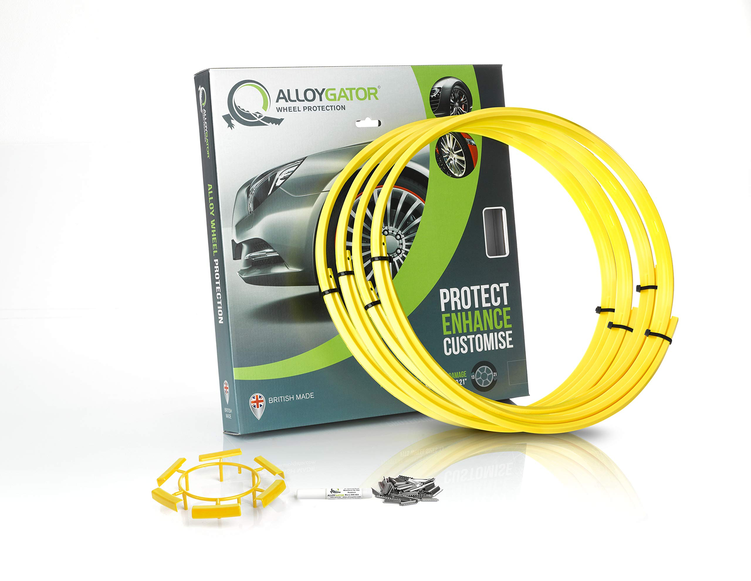 Alloygator Alloy Wheel Protection (Made in Britain) Rim Protector Complete Set of 4 Yellow Color Excellent Fitment (FITS 13'' to 21'' OEM Factory Rims & Aftermarket Wheels)