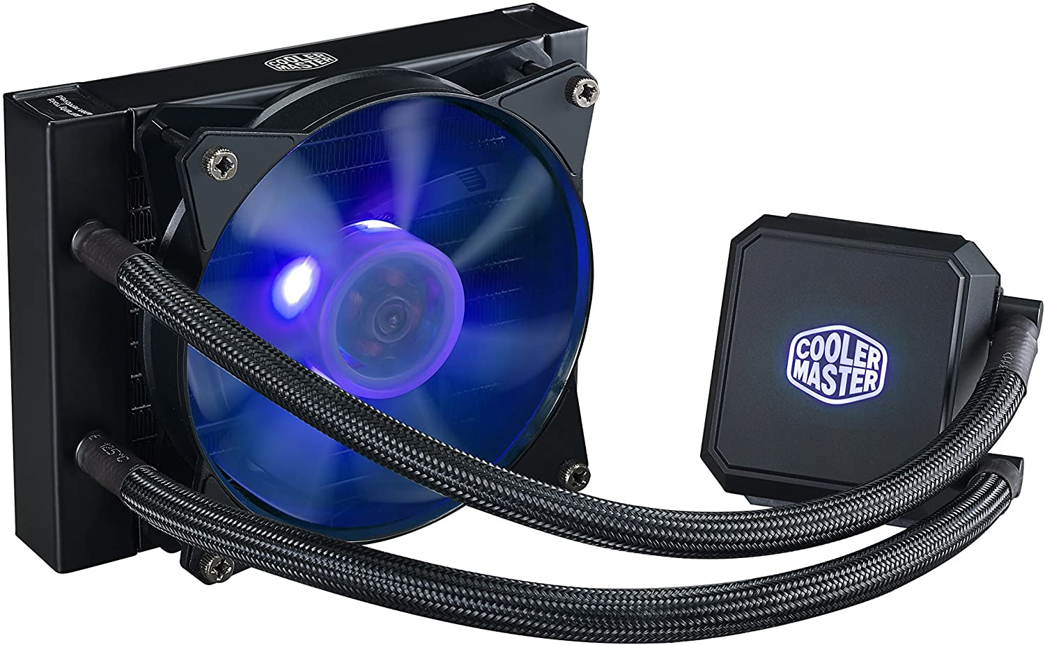 Cooler Master MasterLiquid LC120E RGB Close-Loop AIO CPU Liquid Cooler, 120mm Radiator, Dual Chamber RGB Pump, Dual MF120R RGB Fans w/ RGB Lighting Sync for AMD Ryzen/Intel1151/2066