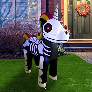 Joiedomi 5 FT Tall Standing Skeleton Unicorn Halloween Inflatable with Build-in LEDs for Halloween Party Indoor, Outdoor, Yard, Garden, Lawn Decorations
