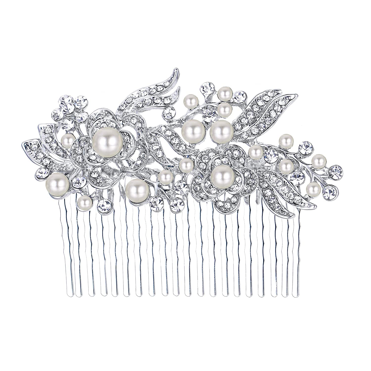 Ever Faith Austrian Crystal Bridal Hair Comb Flower Art Deco Cream Simulated Pearl N00414-3