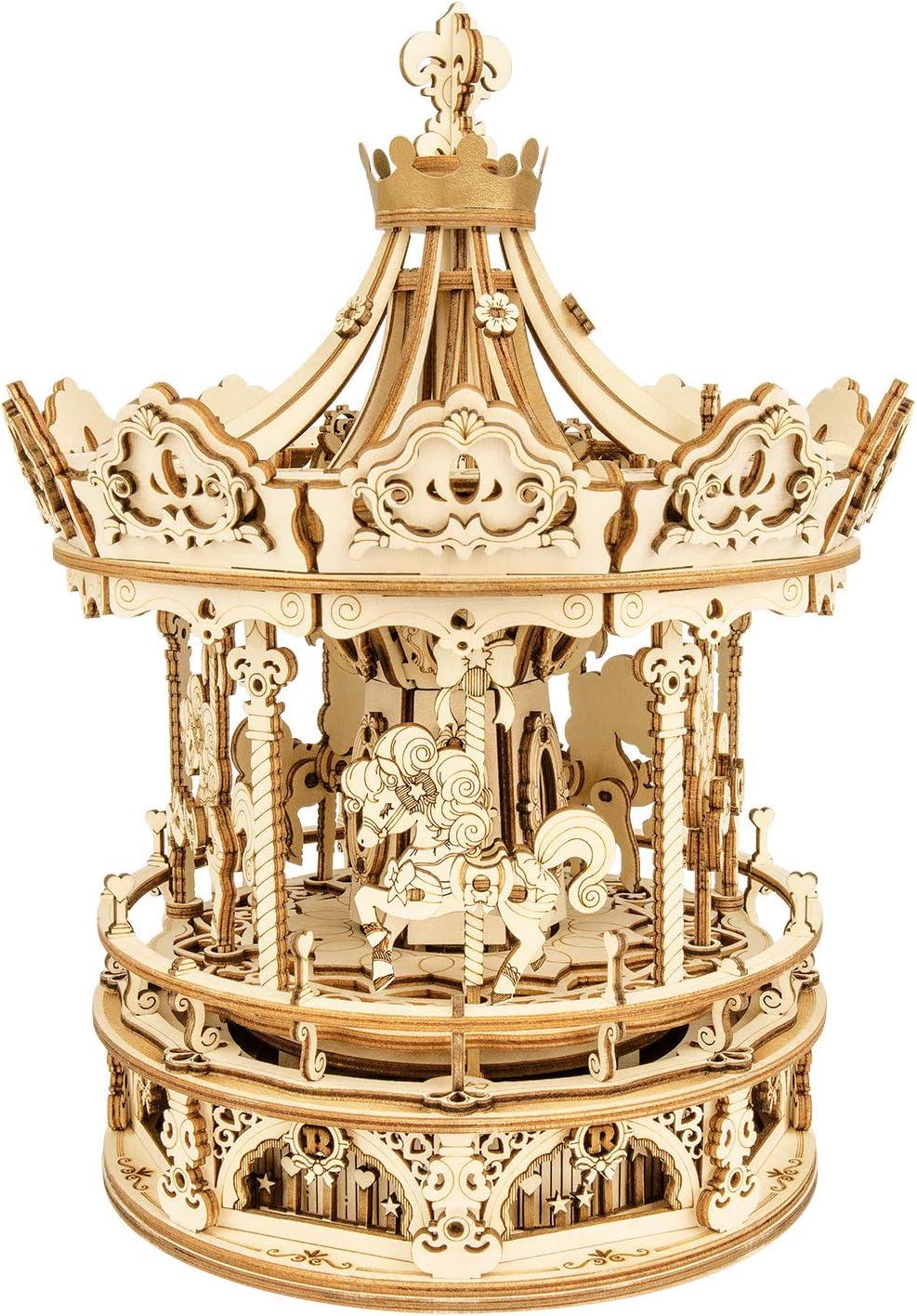 ROBOTIME Carrusel de Madera Caja de música Adultos DIY Rompecabezas de Madera Kits de artesanía Regalo para Navidad y cumpleaños 336 Uds
