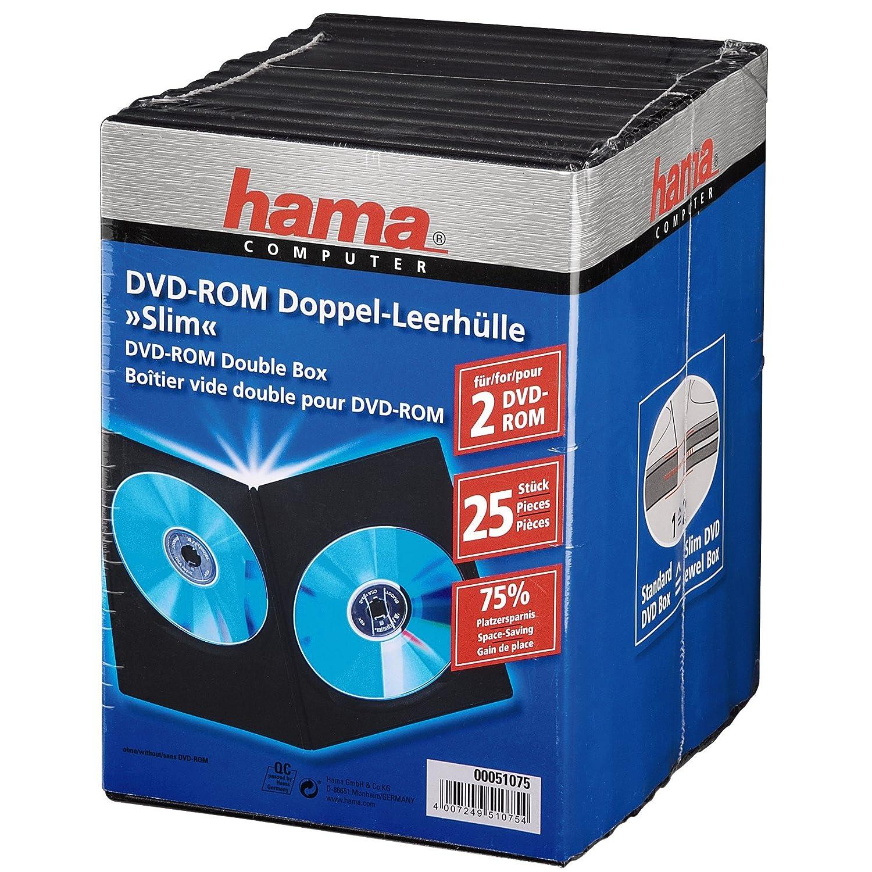 Hama - Pack de 25 cajas dobles para DVD, color negro: Amazon.es ...