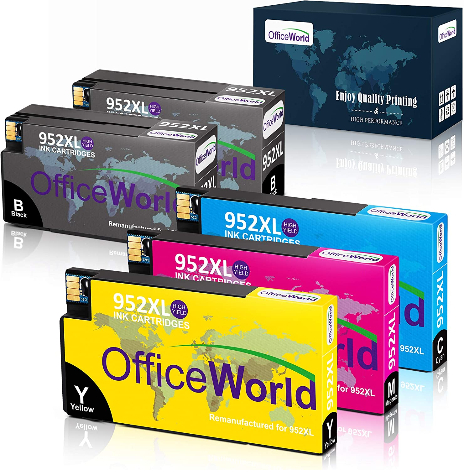 Office World 5 Pack Compatible 952 Ink Cartridge Replacement for HP 952 952XL High Yield Ink Cartridges, Work with OfficeJet Pro 8710 8715 8720 8740 7740 8210 8730 8702 8725 8216 Printer