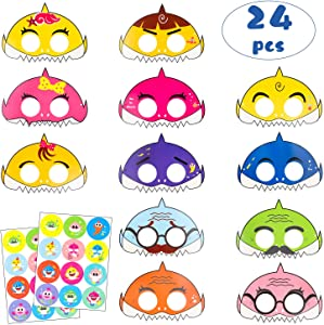 MALLMALL6 24Pcs Little Shark Masks Birthday Party Supplies Cartoon Sharks Theme Party Favor Mask with 24 Pack Cute Shark Stickers Doo Doo Shark Family Inspired Sea Themed Costumes for Kids Preschool