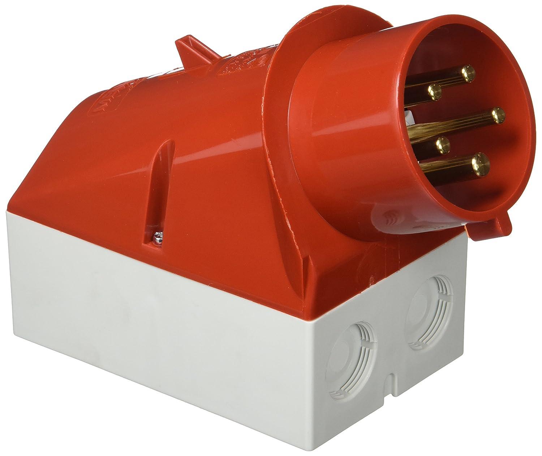 IP 44 32 A Mennekes 101200044 Clavijas Murales 5 Polos Rojo Tomas de Corriente CEE 50-60 Hz 400 V