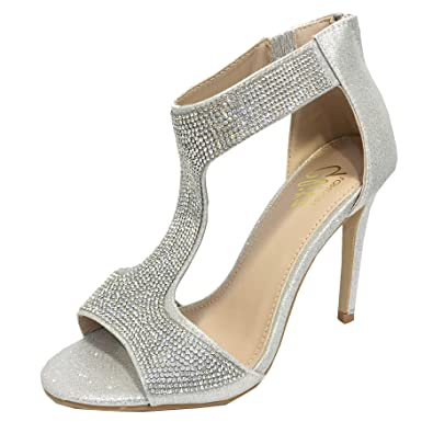 65a2584272e WeHeartShoes Ladies Diamante High Heel Sandals,T-bar Evening Shoes,Sparkly  Rhinestone Embellished, Size 3-8