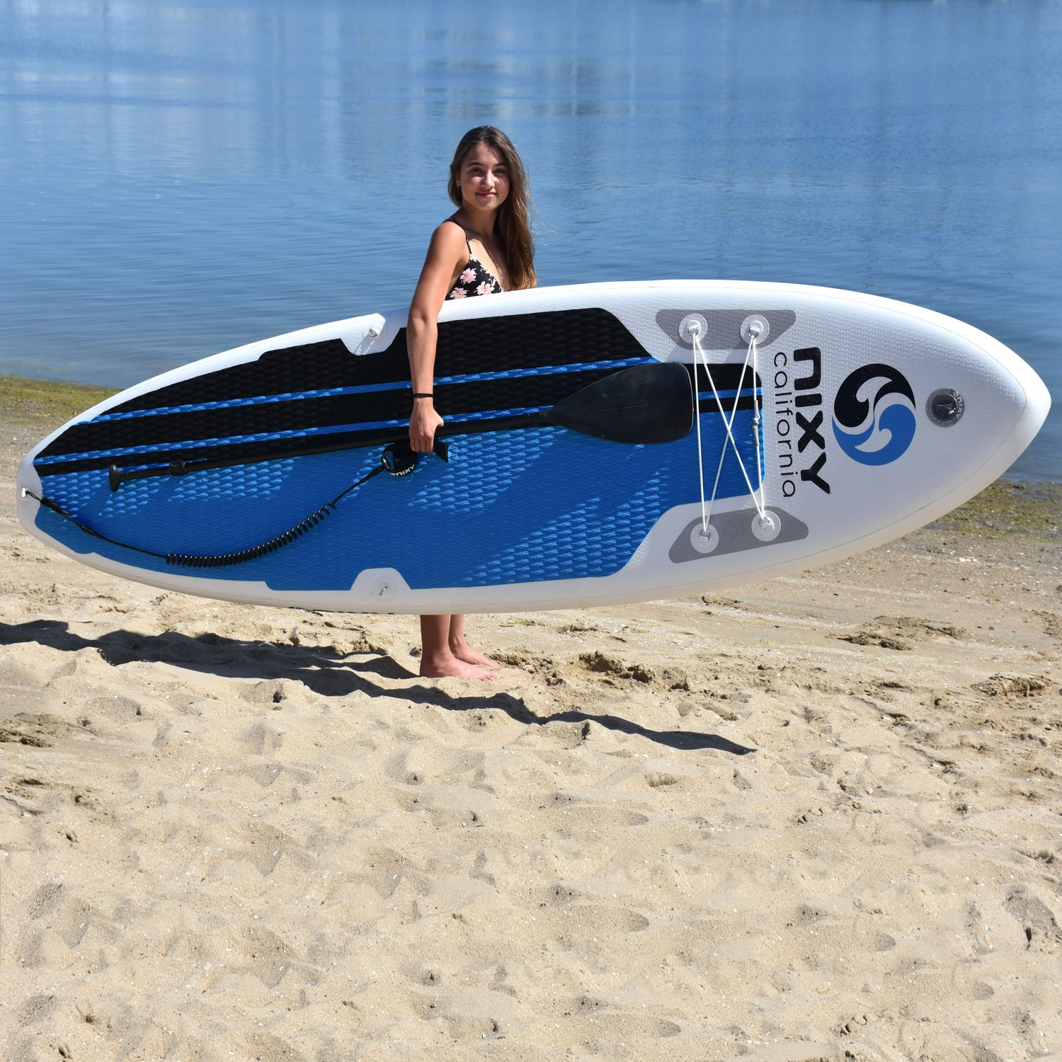 NIXY All Around Inflatable Stand Up Paddle Board Package. Ultra Light 106 Board Built with Advanced Fusion Laminated Dropstitch Technology and 2 YR ...