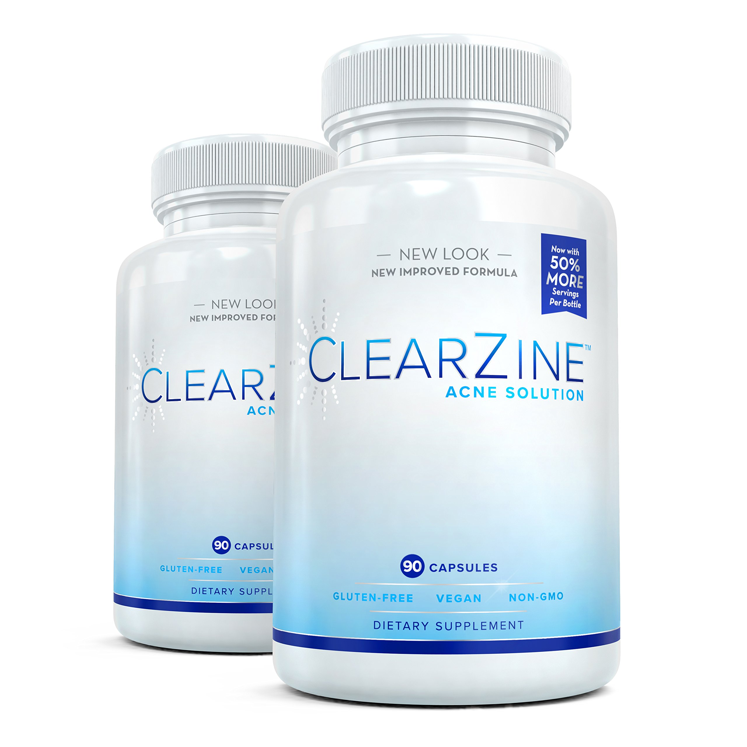 ClearZine Acne Pills for Teens & Adults | Clear Skin Supplement, Vitamins for Hormonal & Cystic Acne | Stop Breakouts, Oily Skin with Milk Thistle, Pantothenic Acid & Zinc, 2 Bottles, 90 Caps Each