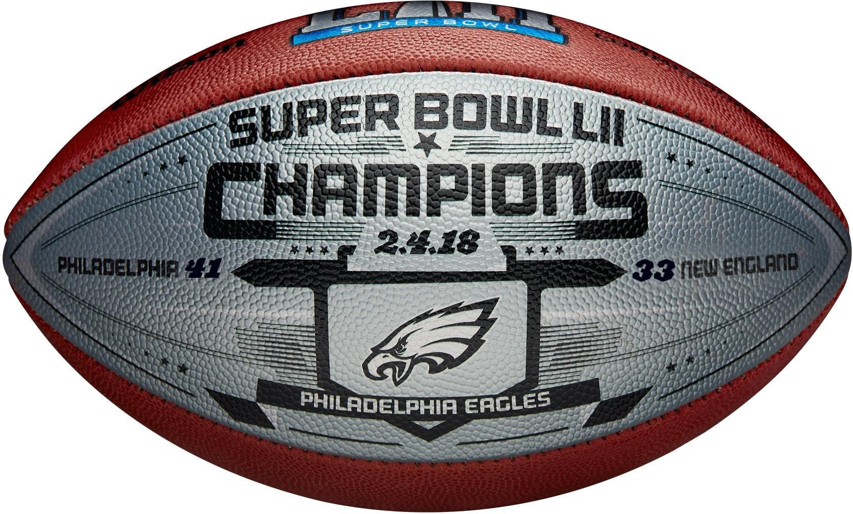 Philadelphia Eagles Super Bowl LII Champions Commemorative Wilson Football with Silver Metallic Panel - Fanatics Authentic Certified