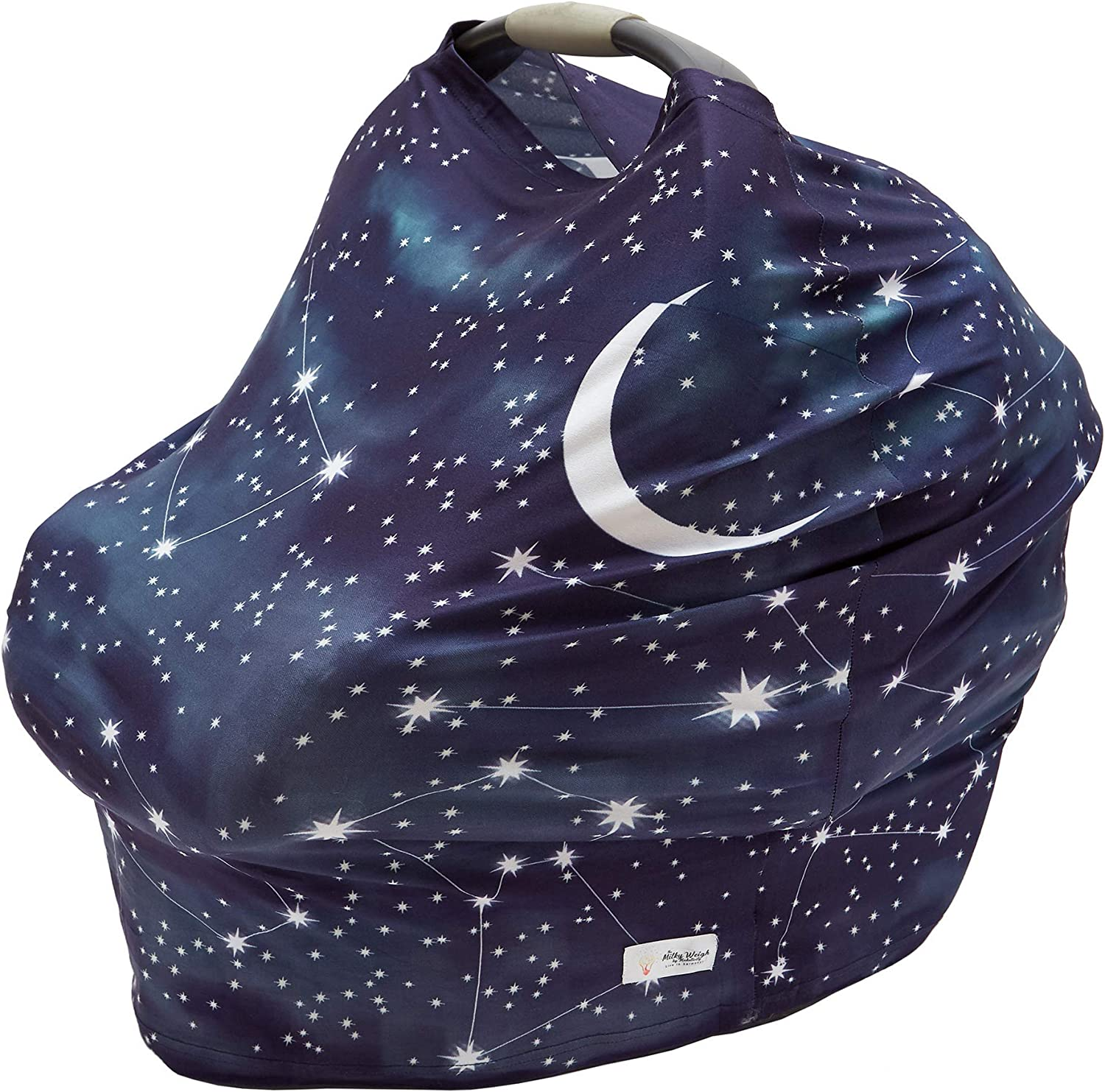 Starry Night Nursing Cover - Carseat Canopy - Organic Baby/Infant Breastfeeding Shawl/Blanket/Scarf/Wrap/Poncho - Portable Feeding Cloth for babies - Multifunctional Car seat/Stroller/Cart Covers