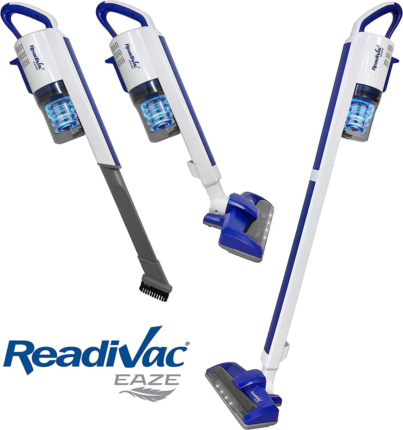 ReadiVac Eaze RS1030, Cordless Stick Vacuum Cleaner, Portable Lightweight Upright Vac with Powerful Suction, Rechargeable Handheld Vac for Pet Hair, Hardwood Floors and Carpet