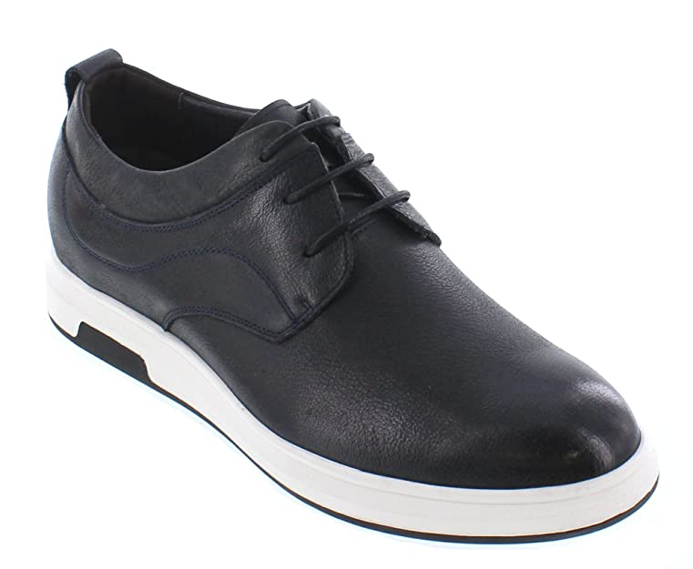 J93226-2.4 inches Taller - height Increasing Elevator Shoes - Dark Slate Blue Leather Lace-up Casual Shoes