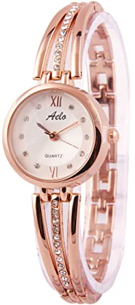 9f03033274d Image Unavailable. Image not available for. Colour  Aelo Rose Gold Analog  Silver Dial Women s Watch ...
