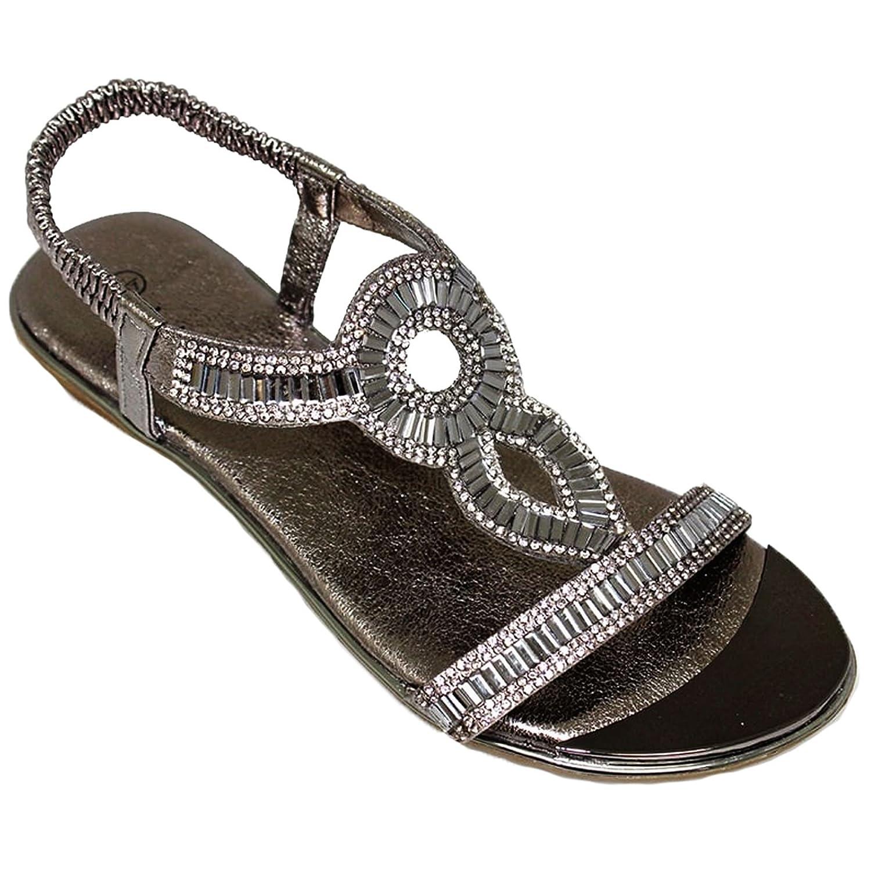 Sapphire Boutique by Sapphire Saphir Boutique jlh882 Samantha ohne Bügel Metallisch Platte Gepolstert Einlegesohle Edelstein Schuhe Sandalen - Grau, 4 UK