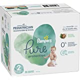 Diapers Size 2, 186 Count - Pampers Pure Protection Disposable Baby Diapers, Hypoallergenic and Unscented Protection, ONE MON