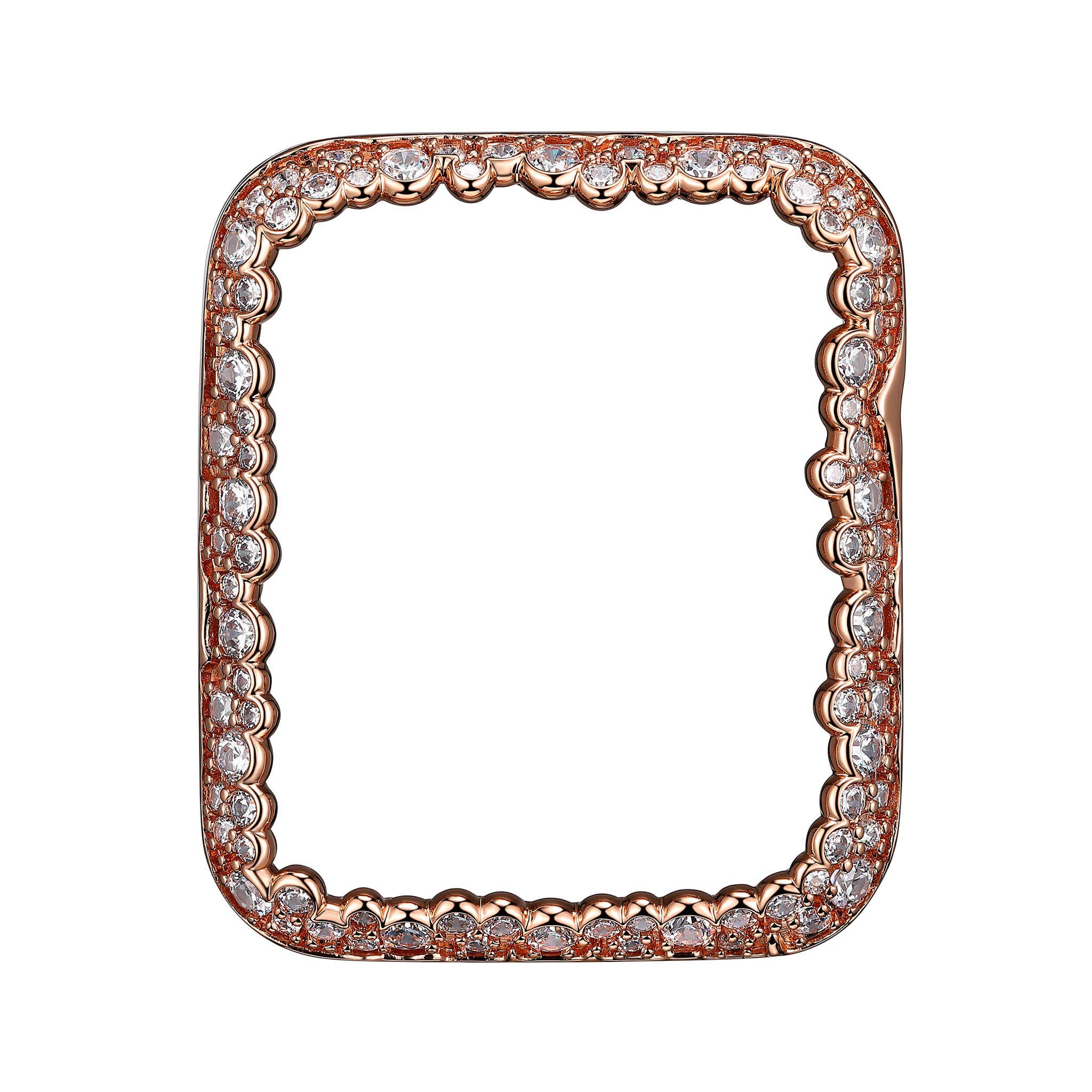 SKYB 14K Rose Gold Plated Champagne Bubbles Jewelry-Style Apple Watch Case with Swarovski Zirconia CZ Border - Large (Fits 42mm iWatch)