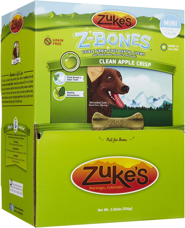 Zuke'S Z-Bones Mini Clean Apple Crisp Dental Dog Treats - 72Ct