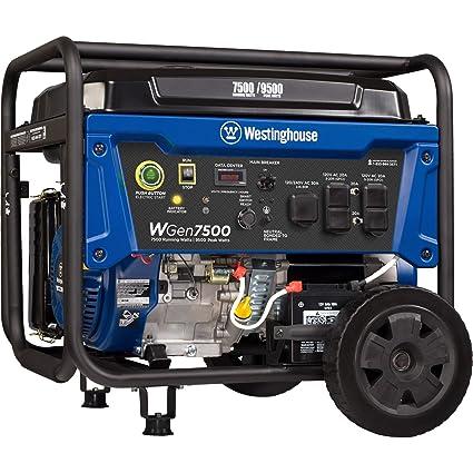 Amazon com : Westinghouse WGen7500 Portable Generator with