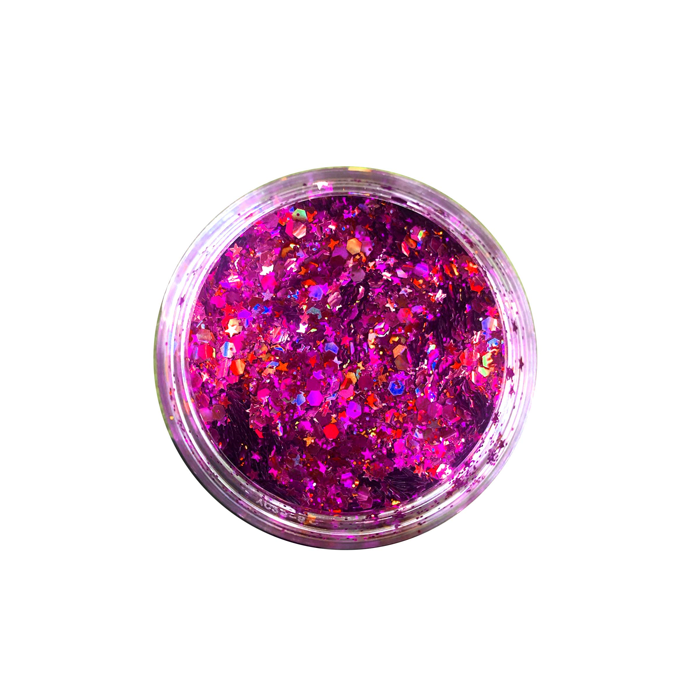 Neva Nude Raspberry Rushie Pink Large Makeup Artist Pot Holographic Chunky Loose Glitter Sparkle 238ML Festival Rave Face Body Hair by Neva Nude (Image #2)