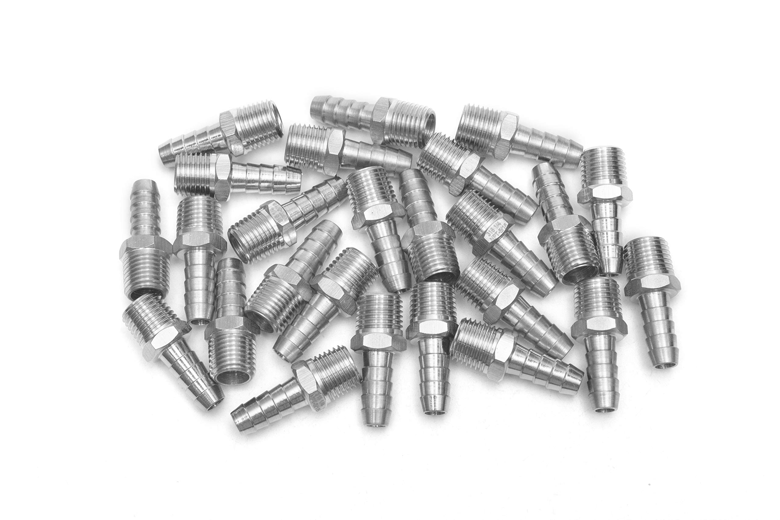LTWFITTING Bar Production Stainless Steel 316 Barb Fitting Coupler/Connector 5/16'' Hose ID x 1/4'' Male NPT Air Fuel Water (Pack of 25)