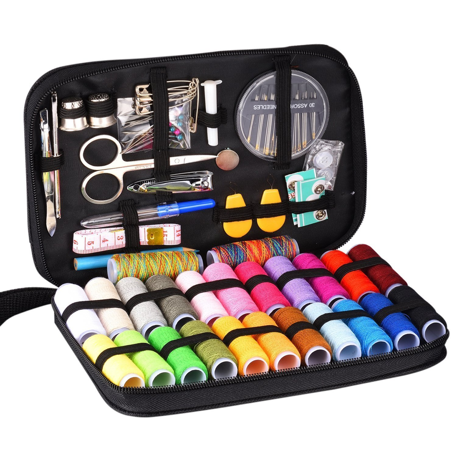 INNOCHEER Sewing Kit with 101 Sewing Accessories, 24 Spools of Thread -24 Color, Mini Sewing Kits for Beginners,Traveller, Emergency, Whole Family to Mend and Repair (Flower) Newever 4336935631