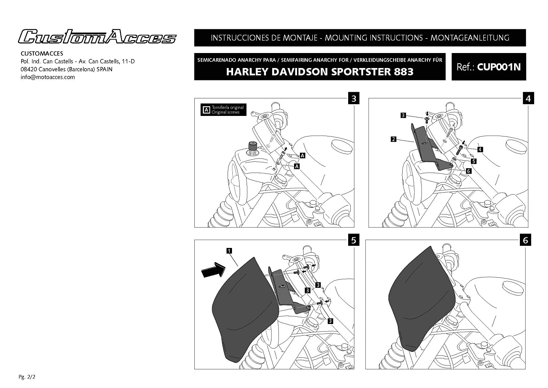 Customacces AZ1105N Semifairing Model Anarchy Black Harley Davidson Dyna Street Bob 07-17