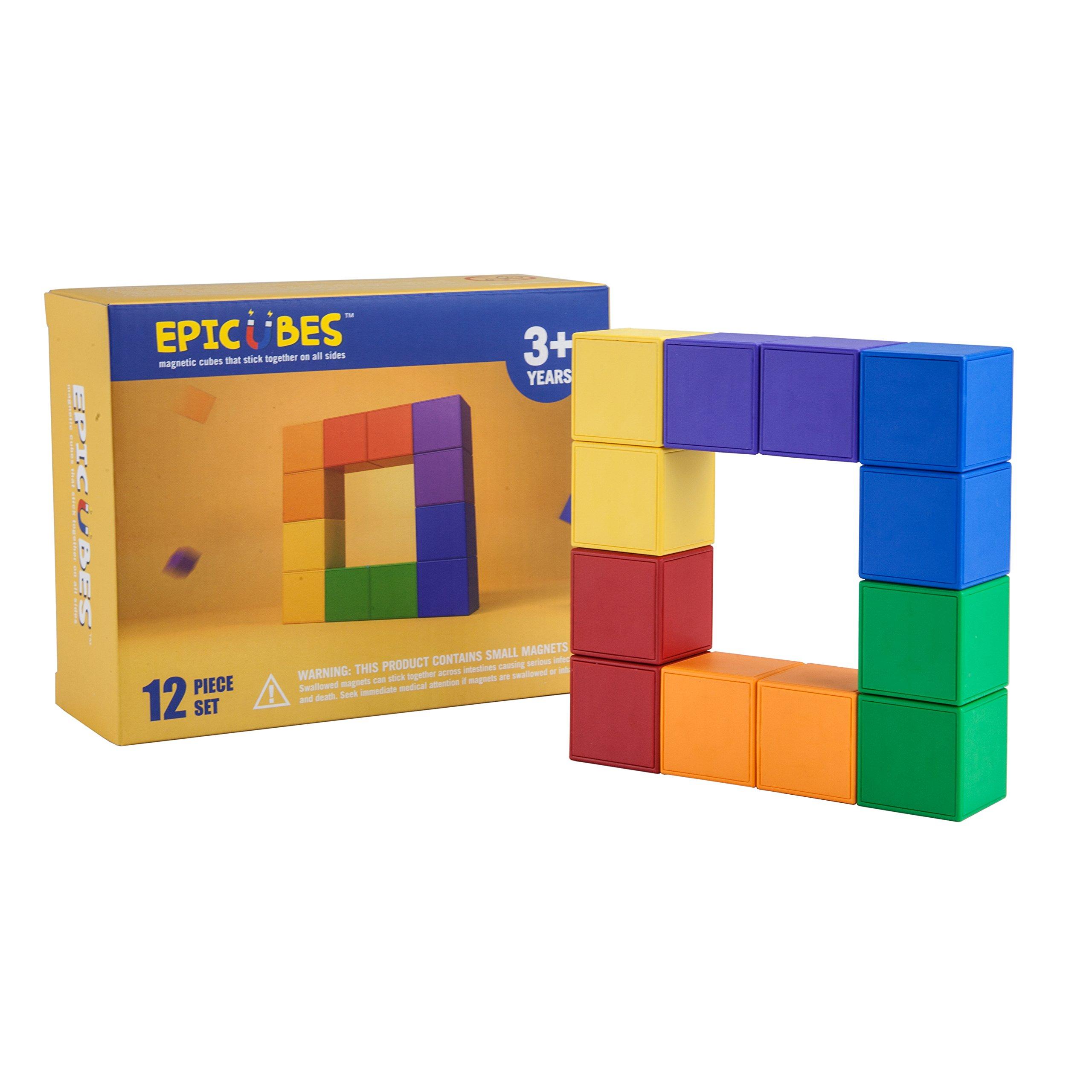 Epicubes Magnetic Building Blocks 12 Piece Set - 3D Construction Kit, Magnetic Cubes That Stick On All Sides, 6 Colors