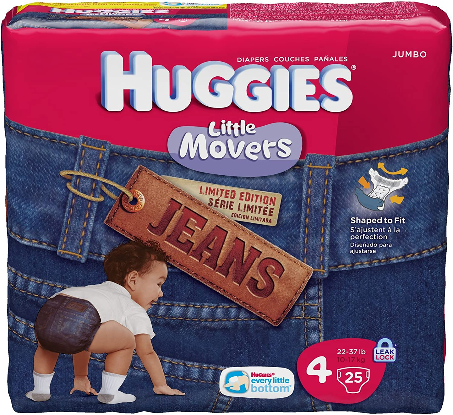 Huggies Little Movers Diapers, Jeans, Size 4 (22-37 lb), Jumbo