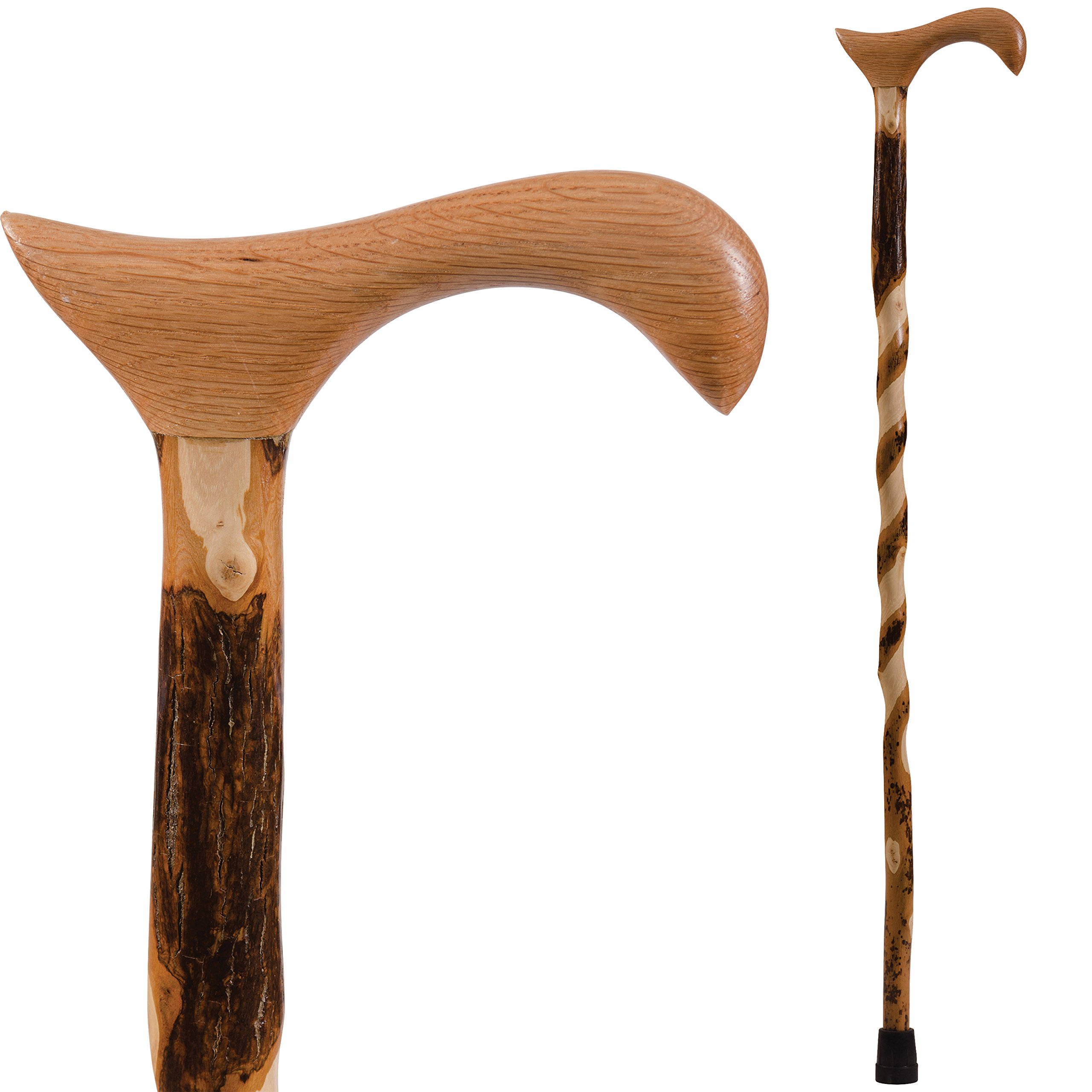 Brazos Free Form Twisted Hickory Handcrafted Wood Cane with Derby Handle, 40 Inch, Made in the USA