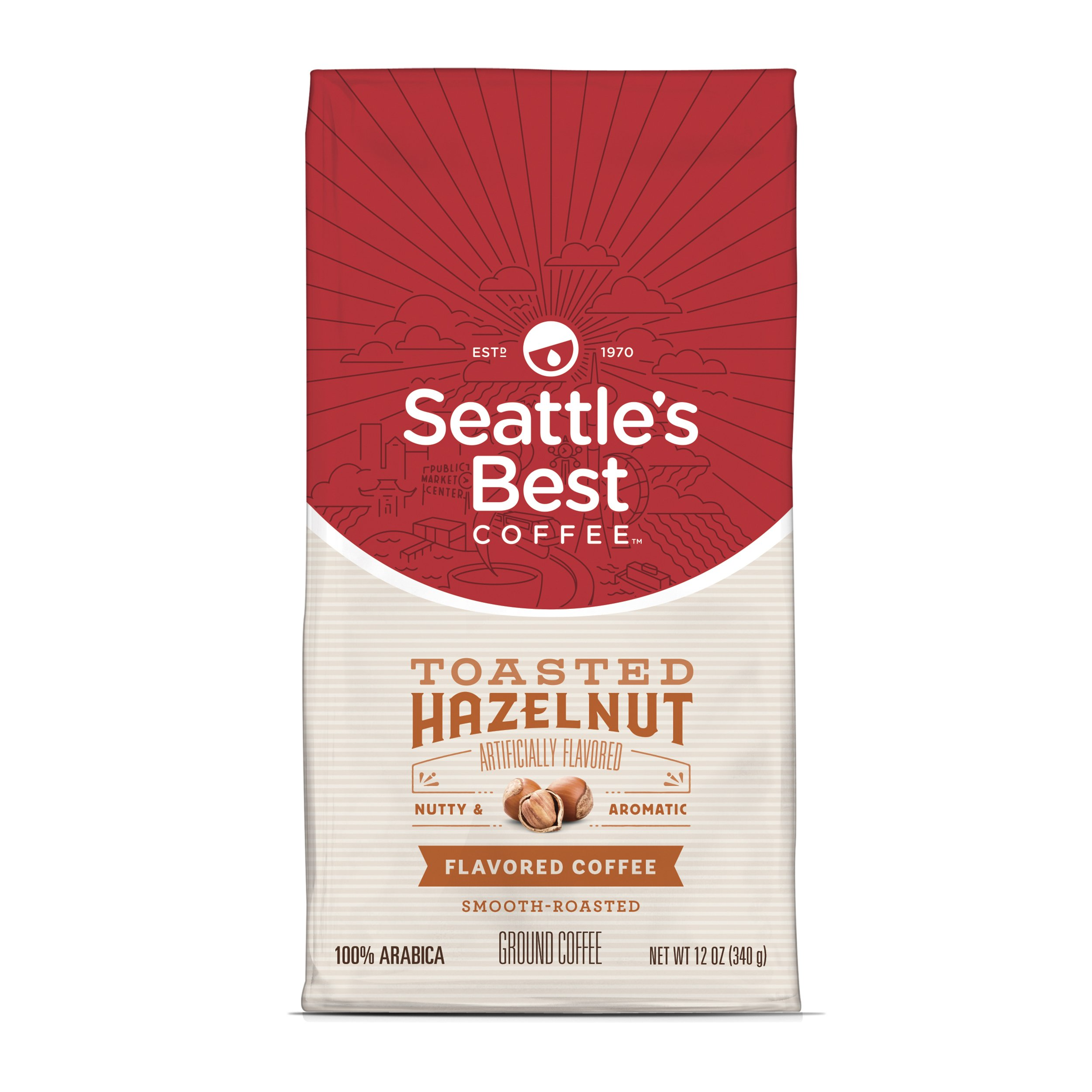 Seattle's Best Coffee Toasted Hazelnut Flavored Medium Roast Ground Coffee, 12 Ounce (Pack of 1)