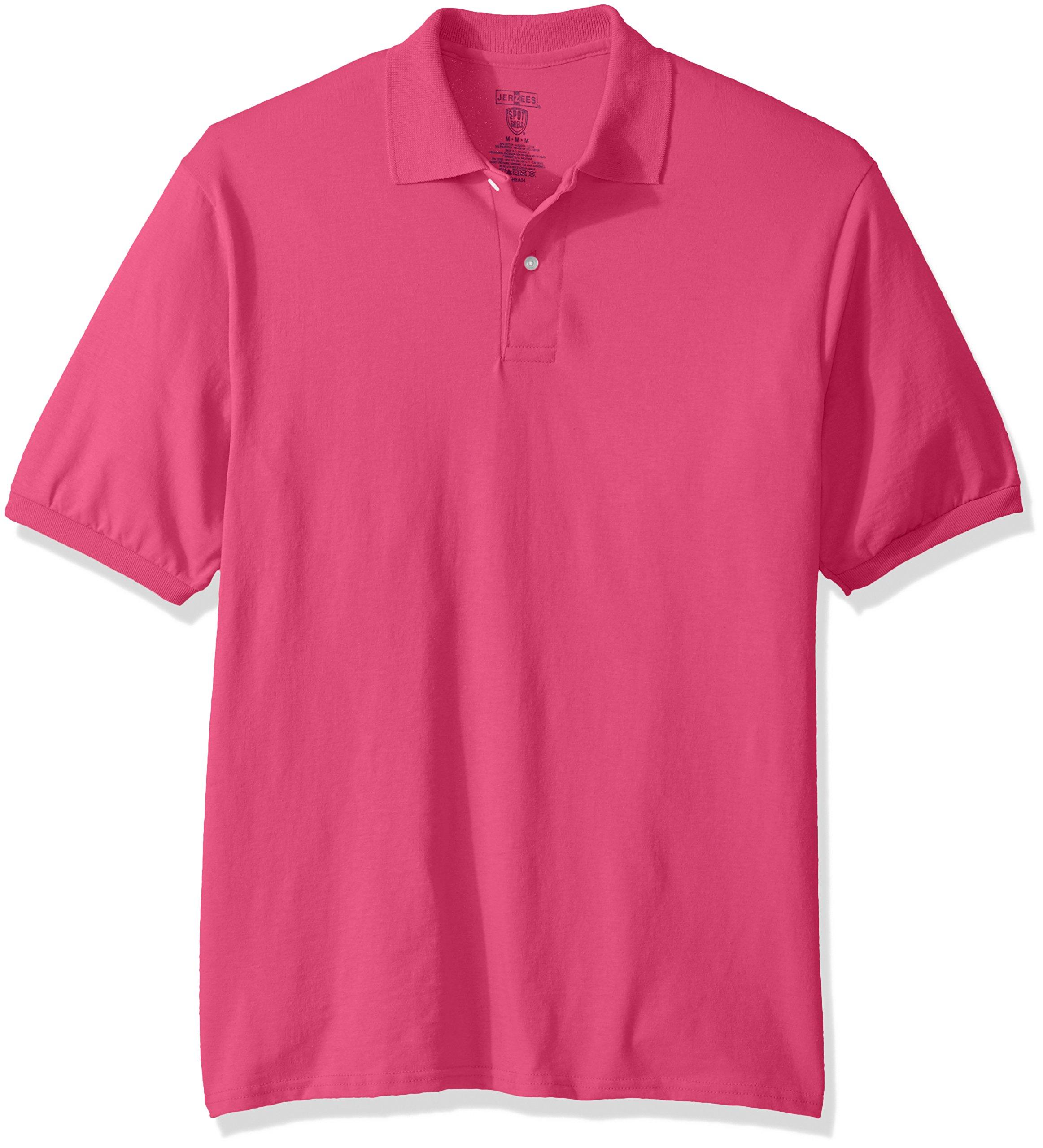 Jerzees Men's Spot Shield Short Sleeve Polo Sport Shirt, Cyber Pink, 2X-Large