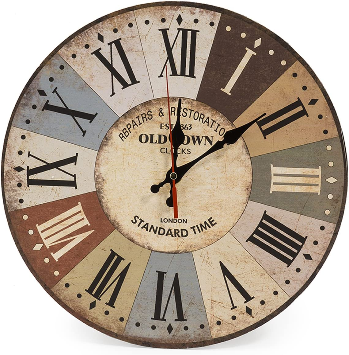 LOHAS Home 12 Inch Retro Wooden Wall Clock Farmhouse Decor Silent Non Ticking Wall Clocks - Quality Quartz Battery Operated - Vintage Rustic Country Style