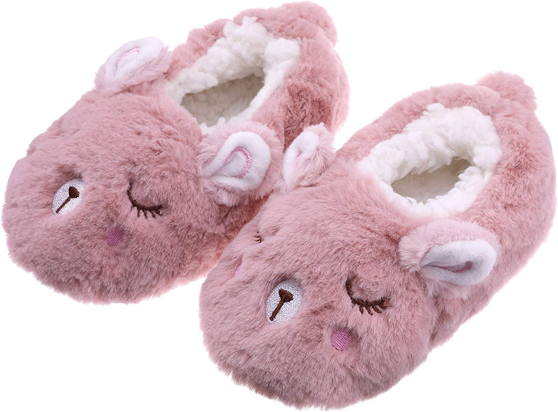 FANZERO Toddler Kids Girls Boys Cute Cartoon Animal Soft Warm Plush Lining Non-Slip Slippers Winter House Shoes