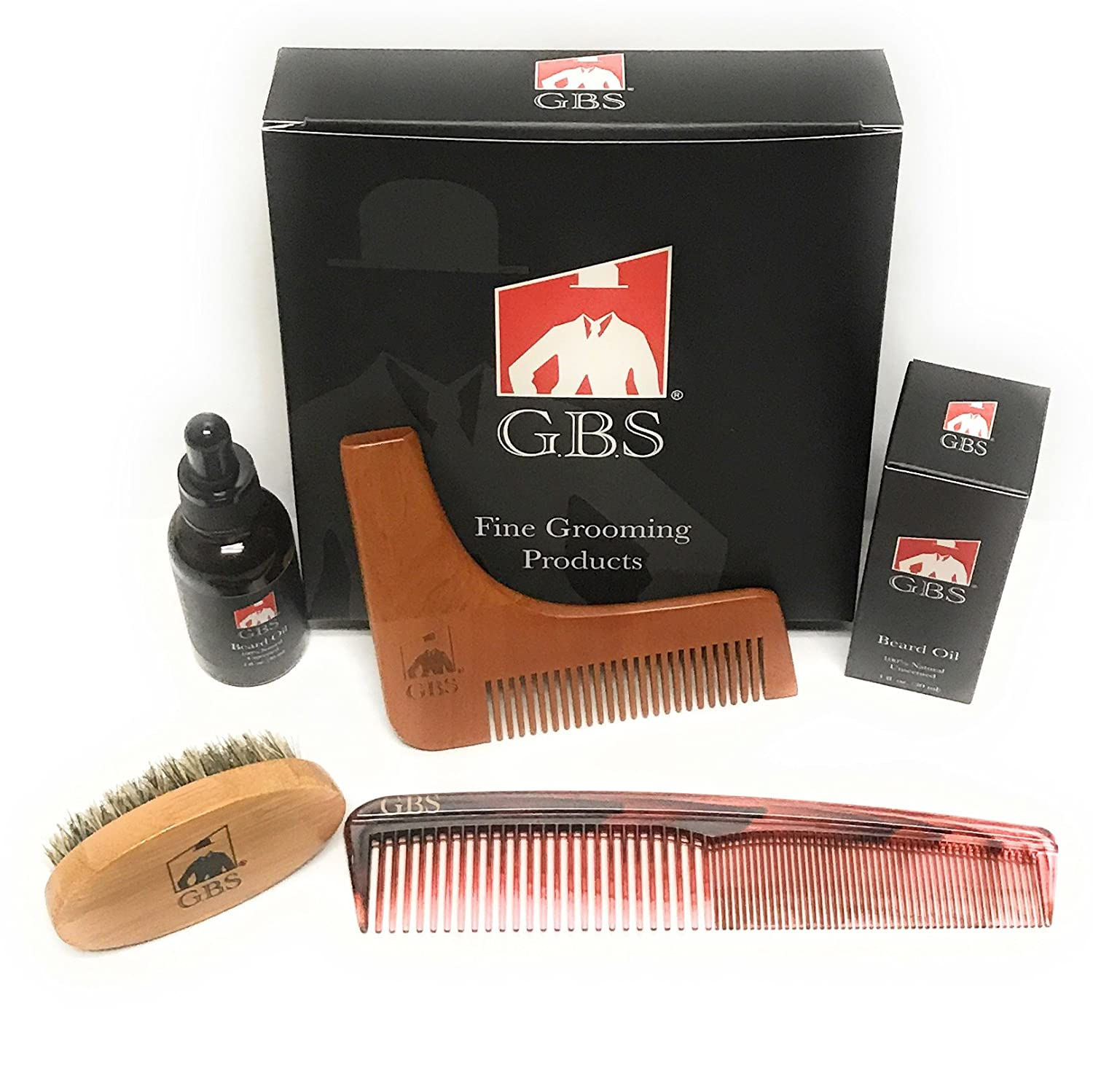 Premium Beard Styling and Shaping Set- Unscented Beard Oil & Template, 7 Tortoise Dressing Comb with Boar Bristle Brush GBS