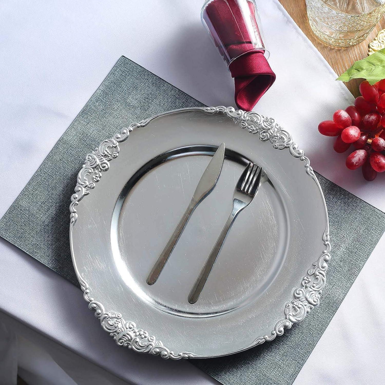Efavormart 6 Pack Rose Gold 13 Round Baroque Charger Plates Leaf Embossed Rim for Tabletop Decor Catering Event Decoration