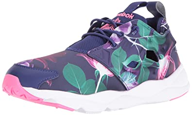 1K0X Reebok Lifestyle Furylite Slip-On Jersey Womens Floral Night Navy Phantom Blue White White Special Sales