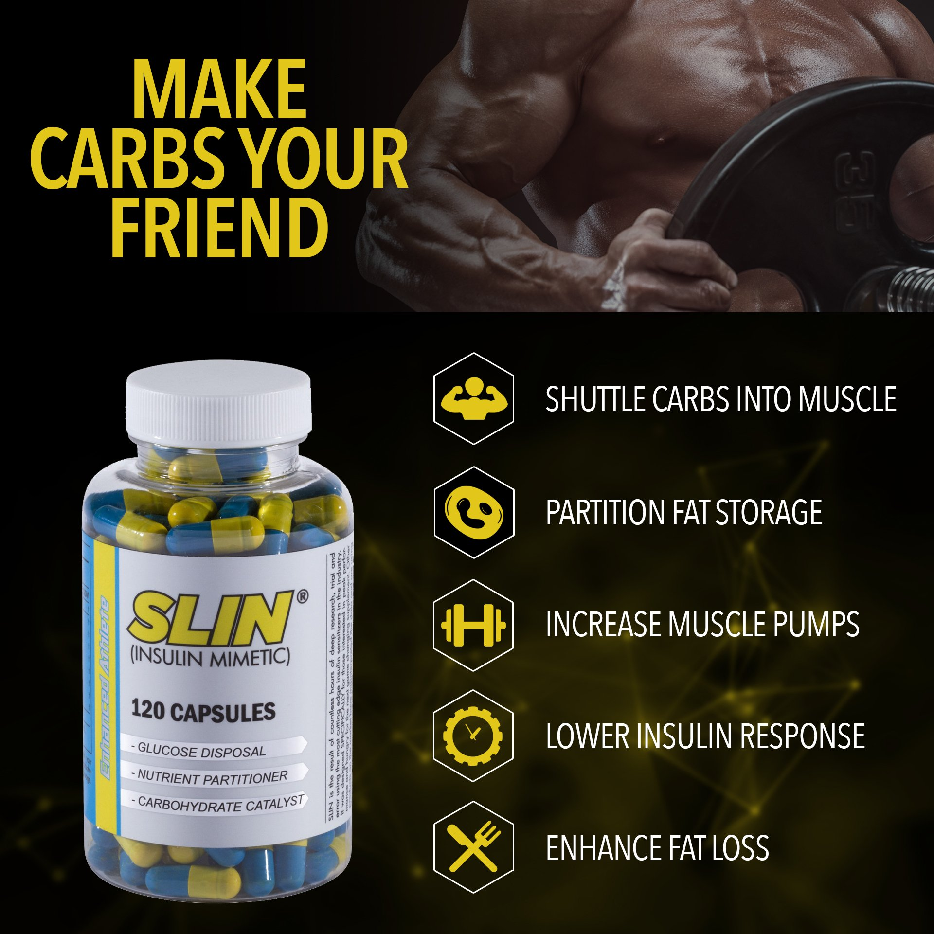 Enhanced Athlete Slin - Carb Blocker, Insulin Mimetic and Nutrient Practitioner to Support Muscle Strength - Promotes Turning Carbohydrates into Muscle - 120 Capsules by Enhanced Athlete (Image #5)