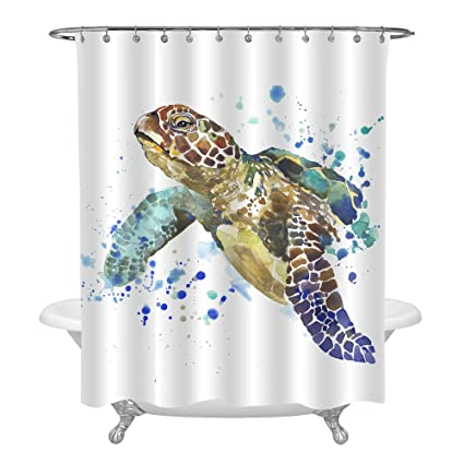 MitoVilla Antique Sea Turtle Shower Curtain Set With Hooks Splash Watercolor Underwater World Animal