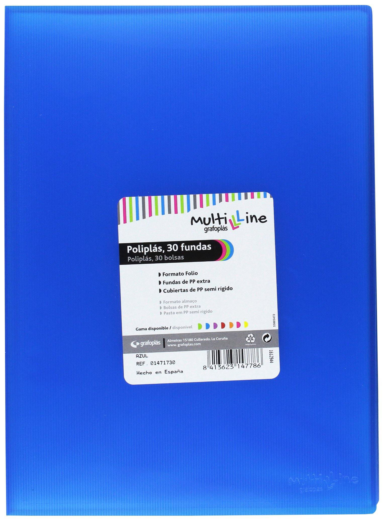 grafoplas 1471730 Folder with 30 Sleeves, Foolscap, Tapas, PP Blue by Grafoplas (Image #1)