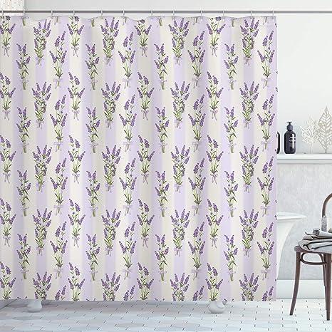 Lavender /& Bird In The Bathtub Shower Curtain Fresh and Simple Bathroom Fabric