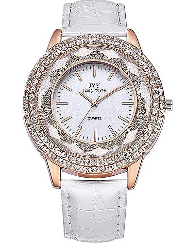 Relojes Mujer Baratos AnalóGica Correa De Piel Correa De Color Blanco Plateado Diamante Esfera Reloj De Cuarzo: Amazon.es: Relojes