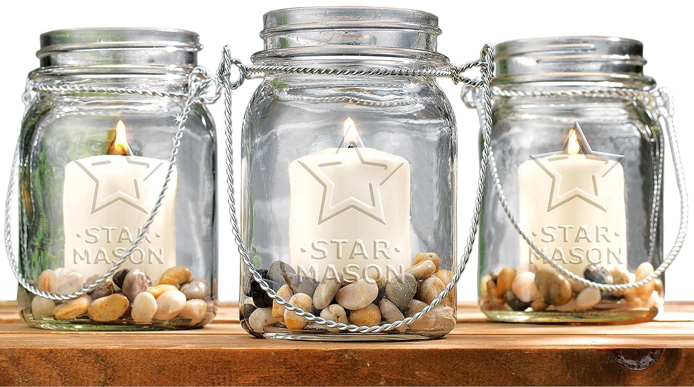 Amazon.com: Set of 3 Clear Glass Mason Jars Votive Candle Holder ...