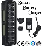 Union_linktech Smart Fast Battery Charger with LCD Display & 16 Slots For Ni-MH Ni-CD AA AAA Rechargeable Battery Charger,Intelligent and Universal 16 Bays/Banks Rechargeable Cells Charger (Batteries Not Included) Charger safety Certificate:CE,GS,ETL.UL